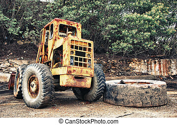 Mining truck and large tire - Abandoned mining huge...