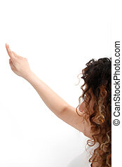young woman pointing on wall - Rear view - white background