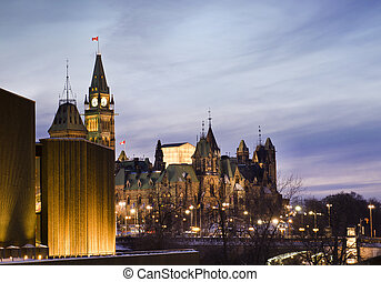 Politics At Dusk - The Canadian Parliament Centre and East...