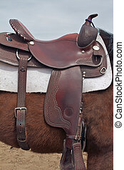 Western Saddle on Horse - a western saddle on a horse