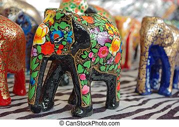 Handcraft wood elephant sculptures - Handcraft wooden...