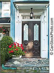 Front door of house - Double front door of luxurious...