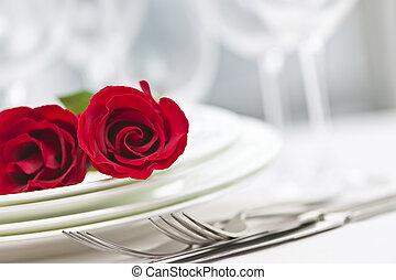 Romantico, cena, regolazione