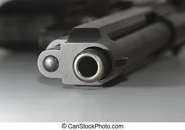gun barrel - closeup of a gun barrel