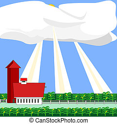 Sun rays on a corn field - Illustration of sun rays on a...
