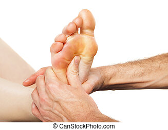 Foot massage and spa foot treatment - Closeup of foot...