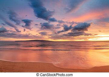 Hawaiian Sunset - Sunset on Hawaii Beach