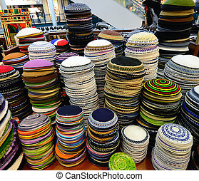 Yarmulkes - Piles of Judaic Yarmulkes for sale