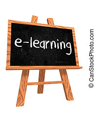 e-learning on blackboard - 3d isolated wooden blackboard...
