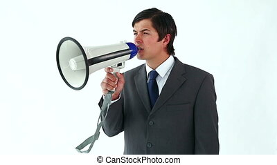 Happy manager using a megaphone against a white background