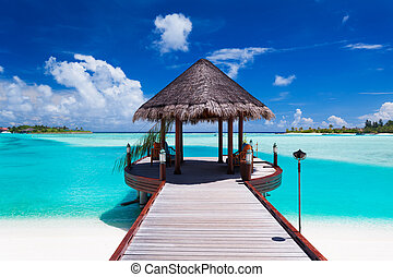 Jetty with ocean view on tropical island - Jetty with...