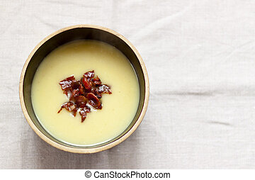 Potatos soup with bacon - Traditional potatos soup with...