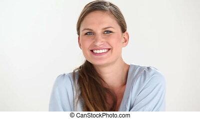 Woman flirting at camera