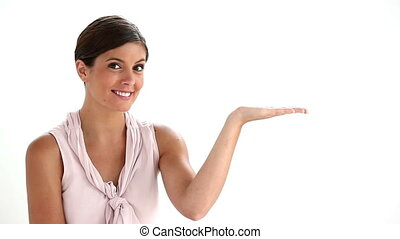 Woman presenting with the palm against white background