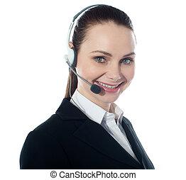 Call centre female executive, closeup