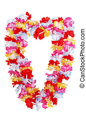Hawaiian lei - Colorful Hawaiian lei flower isolated on...