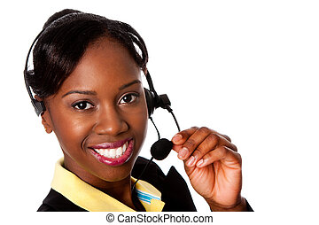 Happy Service Operator - Beautiful happy smiling African...