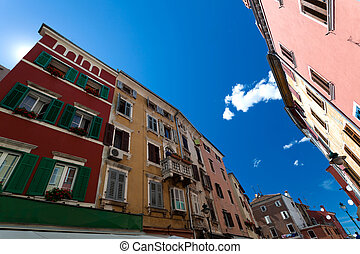 Rovinj Attractions - Wide angle view of colored buildings in...