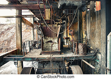 Industrial, abandoned pulley mine - The Great old pulley...