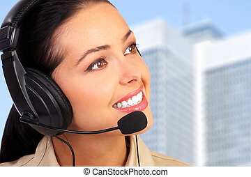 Call center operator woman.