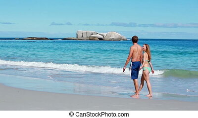 Couple walking together on the beach