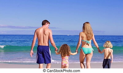 Family walking while playing together on the beach