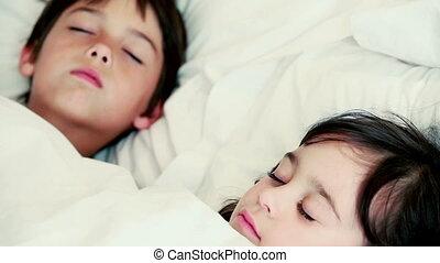 Siblings falling asleep in the bedroom