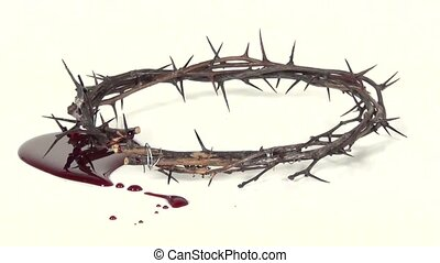 crown of thorns and pool of blood