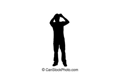 Silhouette man looking through binoculars