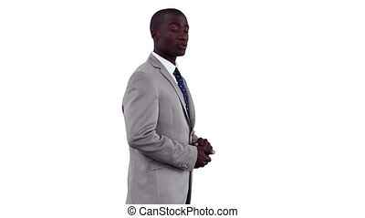 Businessman standing while using a virtual presentation...