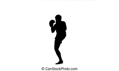 Silhouette of a man practicing kickboxing
