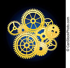 Clockwork elements - Clockwork mechanism elements with gears...