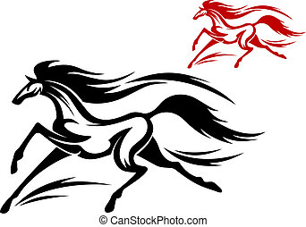 Running horse tattoo - Fast running horse in vector for...