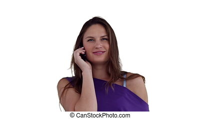 Woman swaying while making a phone call