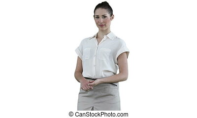 Businesswoman looking to her side against a white background