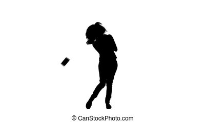 Silhouette of a woman throwing money notes