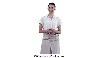Businesswoman gesturing while making an announcement