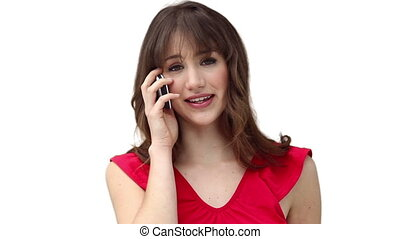 Brunette woman making a call while looking the camera