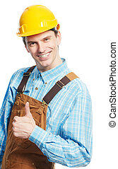 Happy worker in hardhat and overall with thumb up - Smiling...
