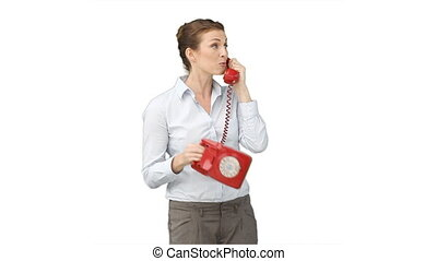 Business woman using a telephone
