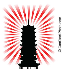 silhouette of a japanese religious goal