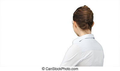 Business woman turning around against a white background