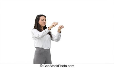 A woman using a virtual keyboard against a white background
