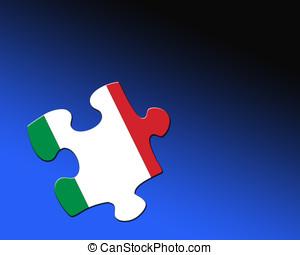 Italian Jigsaw piece - A single jigsaw piece filled with...