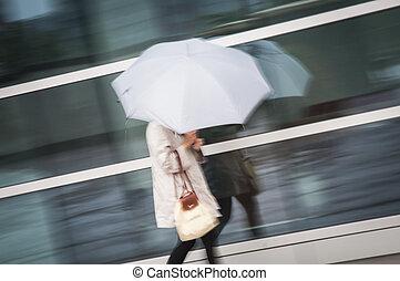 Woman under umbrella in rain - Woman walking under white...