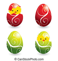 colorful easter eggs and hatching chicks - set of colorful...