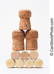 Pyramid made of bottle cork