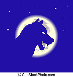 Wolf and moon in the night vector illustration