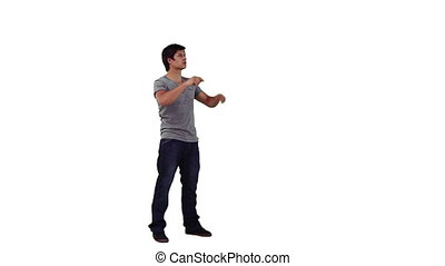 A man is using a virtual screen against a white background