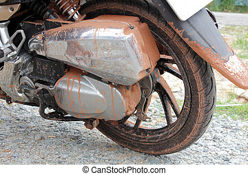 Wheel - Close-up of muddy wheel of dirt motorbike